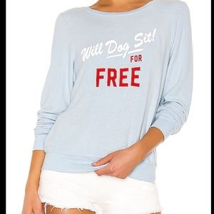 """NEW NWT Wildfox """"Will Dogsit For Free"""" Blue"""